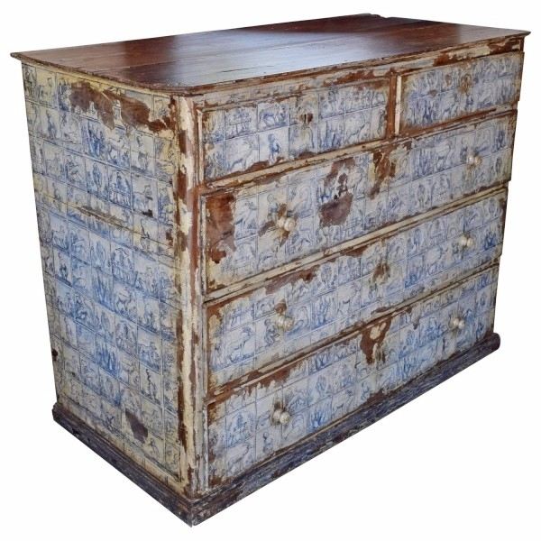 Unusual Walnut and Painted 5-Drawer Commode