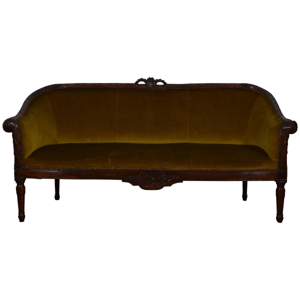 Carved Walnut and Upholstered Divano Sofa