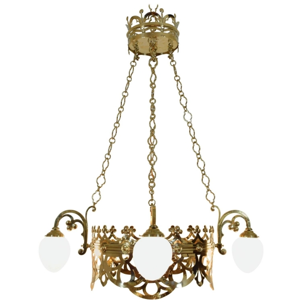 Cast Brass Hanging Fixture with Four Glass Shades