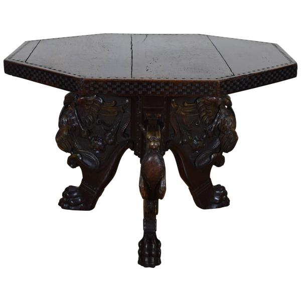 Octagonal Walnut Center Table