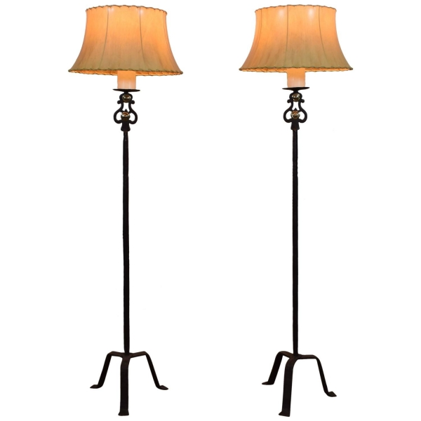 Pair of Wrought Iron Torcheres Mounted as Floor Lamps