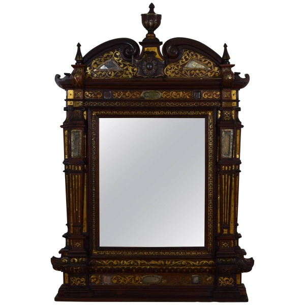 Rosewood and Brass Decorated Mirror