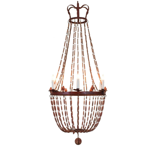 Painted Wood and Iron 6-Light Chandelier
