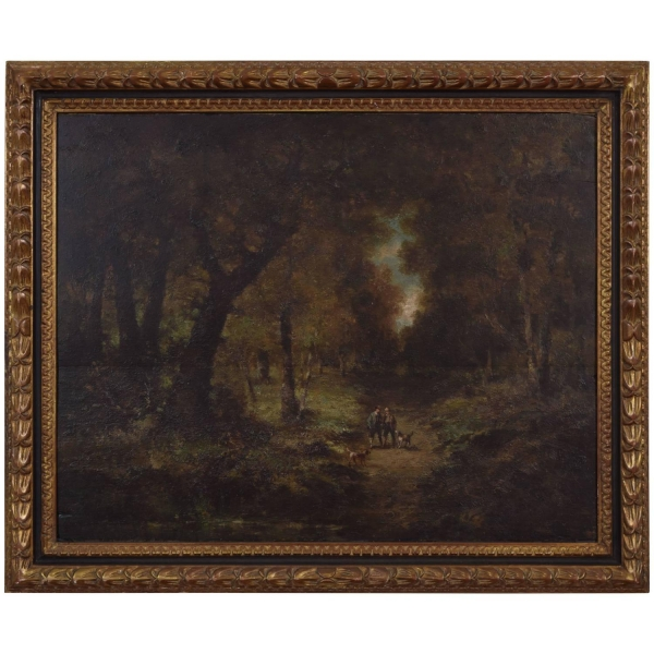 Oil on Panel, Hunters with Dogs in Woods