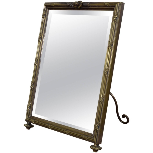 Silvered Brass Standing Table Mirror, Original Beveled Mirror Plate