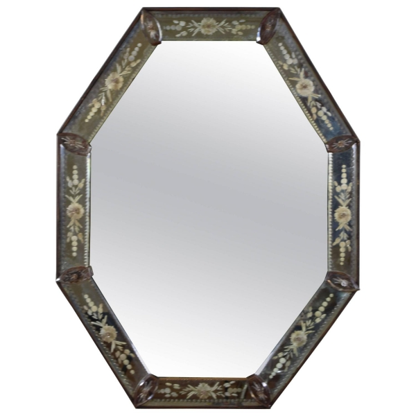 Reverse Etched Glass Octagonal Mirror
