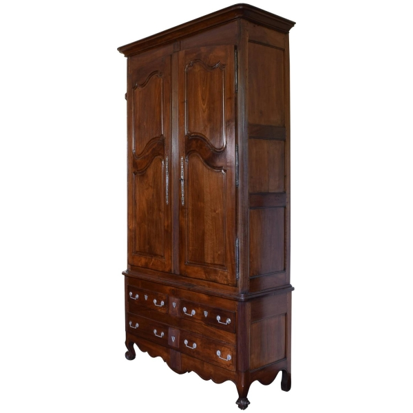 Tall Walnut Armoire with Two-Drawer