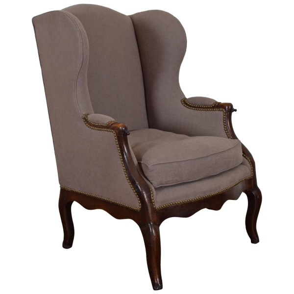 Walnut and Upholstered Bergere with Iron Slides
