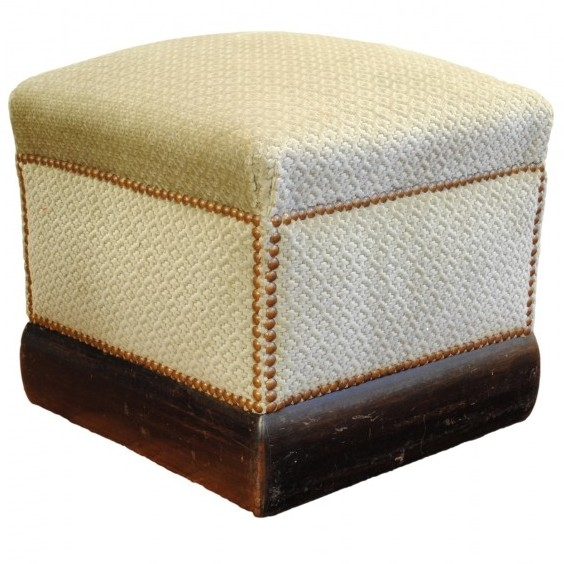Upholstered Pouf Trimmed with Nail Heads