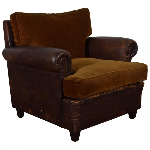 Leather Upholstered and Velvet Club Chair