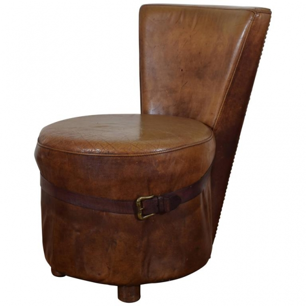 Leather Upholstered Vanity or Slipper Chair