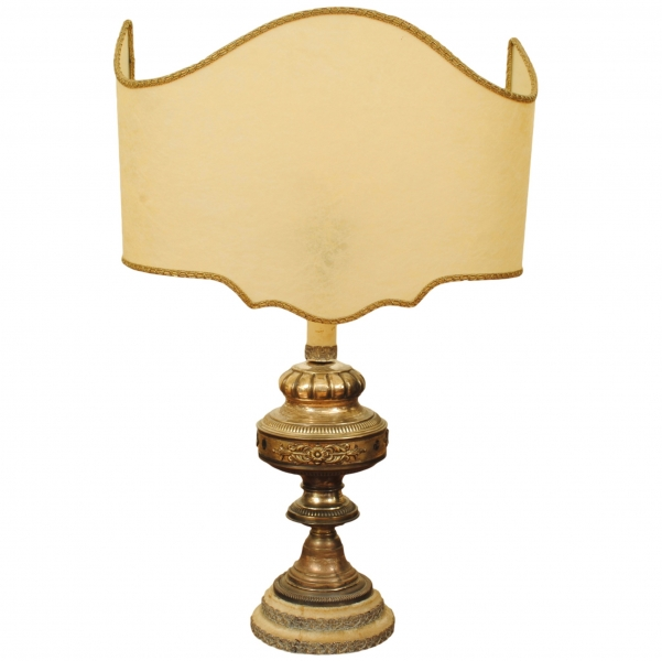 Silver Plated Table Lamp with Custom Parchment Shade