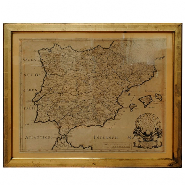 Lithograph Framed Map of Spain