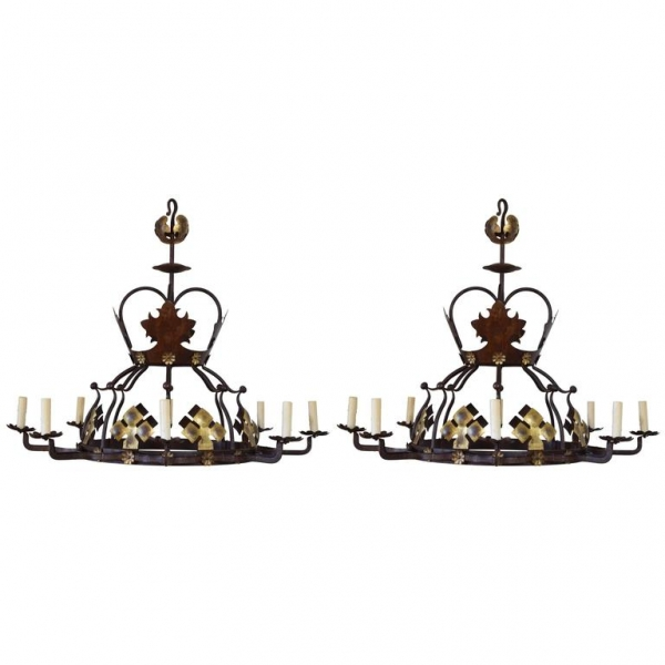 Pair of Wrought Iron and Painted Metal 8-Light Chandeliers, UL Wired