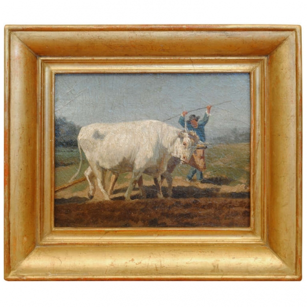 Oil on Artist Board Painting in Period Giltwood Frame