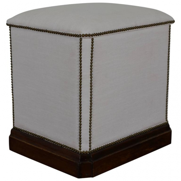 Upholstered and Walnut Laundry Hamper