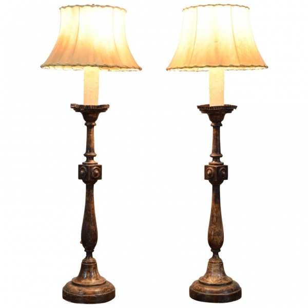 Pair of Turned and Carved Wood Candlestick Lamps