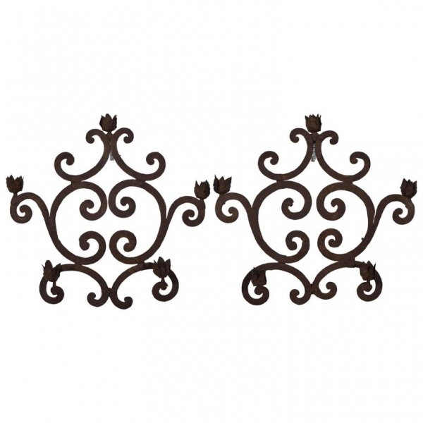 Pair of Wrought Iron 5-Light Candle Sconces