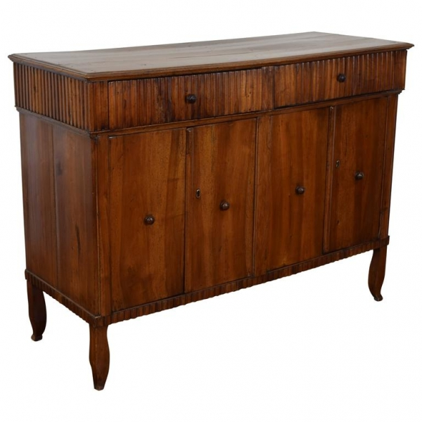 Walnut Credenza with Fluted Carving
