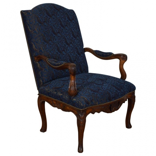 Walnut and Upholstered Fauteuil