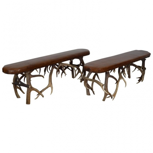 Pair of Deer Horn and Leather Upholstered Benches