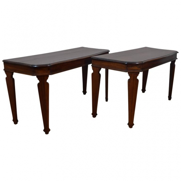 Rare and Unusual Pair of  Walnut Console Tables