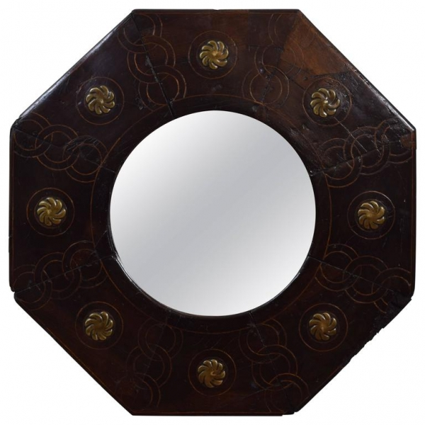 Walnut, Inlaid and Brass Mounted Octagonal Mirror