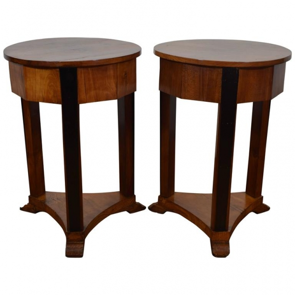 Pair of Fruitwood and Ebonized Tables