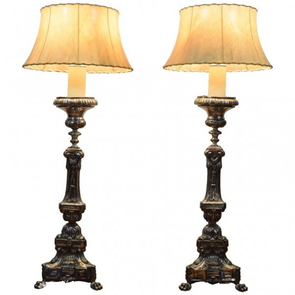 Pair of Large Silvered Brass Candlestick Lamps