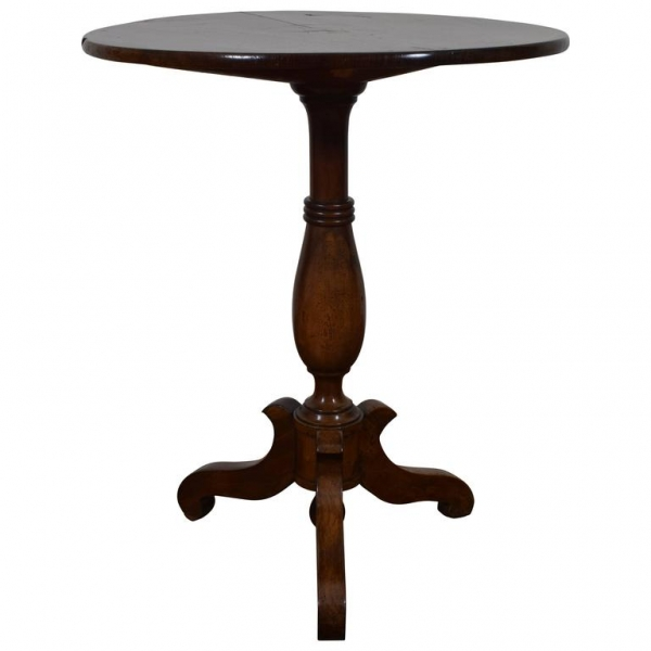 Walnut Pedestal Table with Inlaid Top