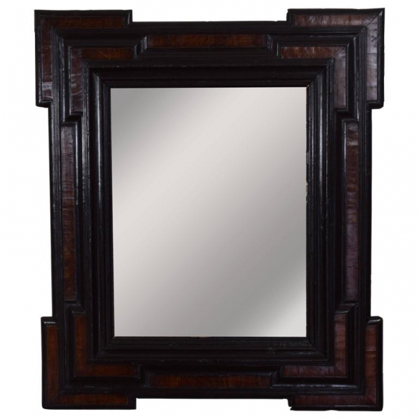 Large Walnut and Ebonized Wall Mirror