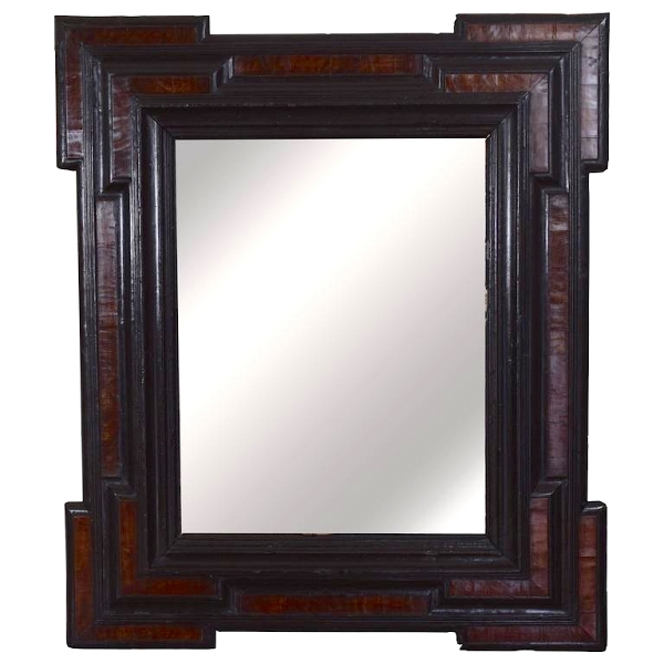Large Walnut and Ebonized Wall Mirror