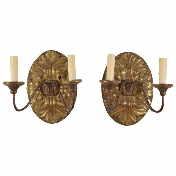 Pair of Giltwood 2-Arm Sconces
