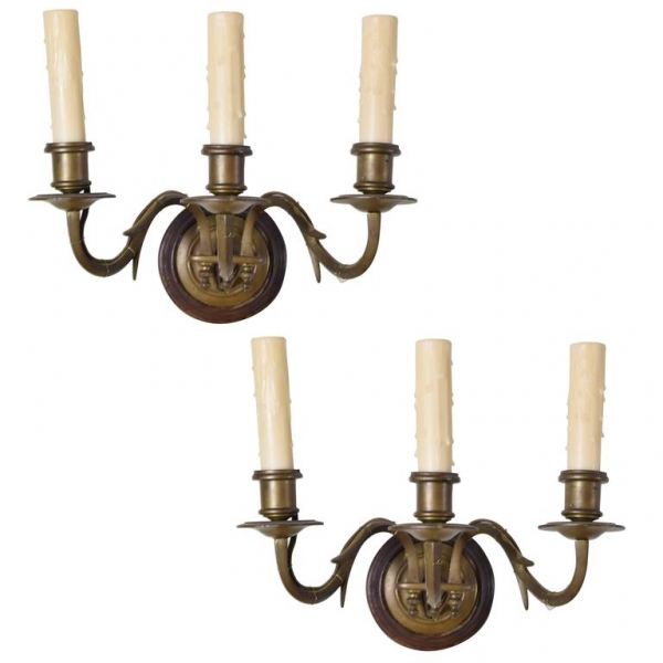 Pair of Brass 3-Arm Wall Sconces
