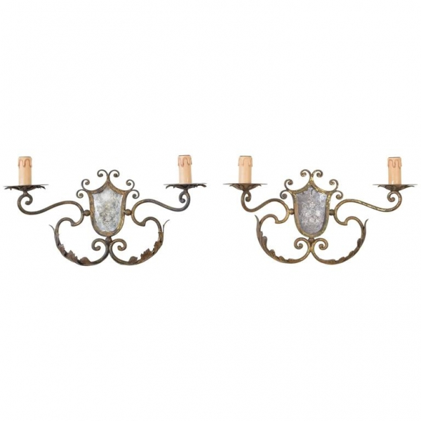Pair of Gilt Metal and Mirrored 2-Arm Sconces