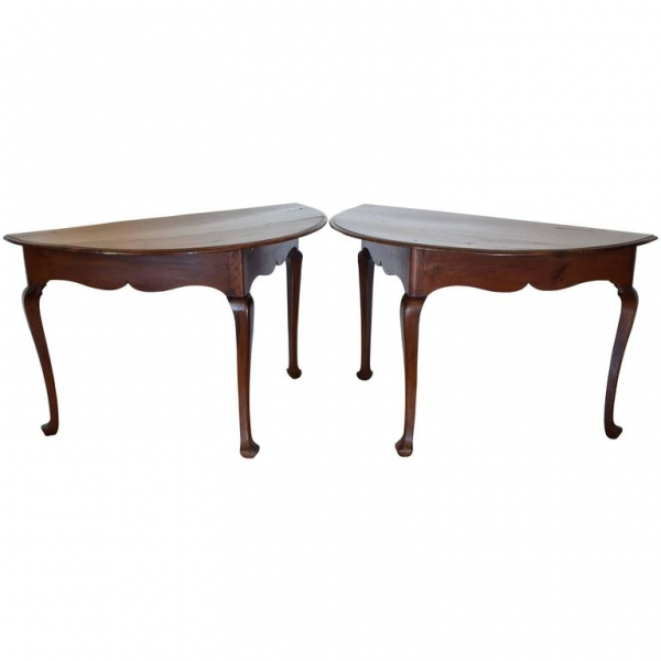 Pair of Walnut Demilune Console Tables