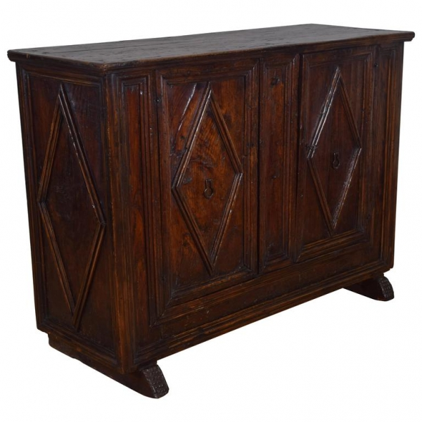 Larchwood 2-Door Credenza with Raised Lozenge Panels