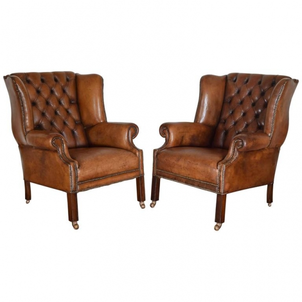 Pair of Tufted Leather Wing Chairs