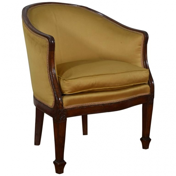 Walnut and Upholstered Bergere in the Empire Taste