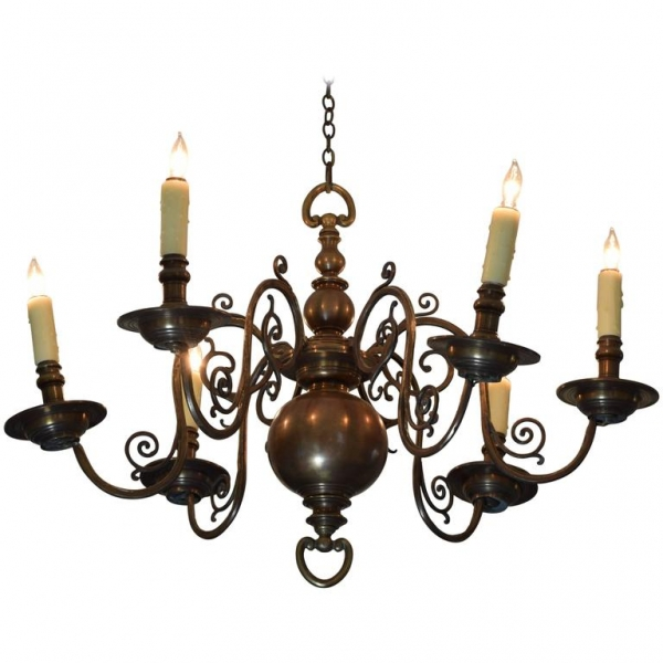 Patinated Brass 8-Light Chandelier