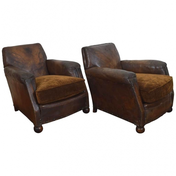Pair of Leather and Upholstered Club Chairs