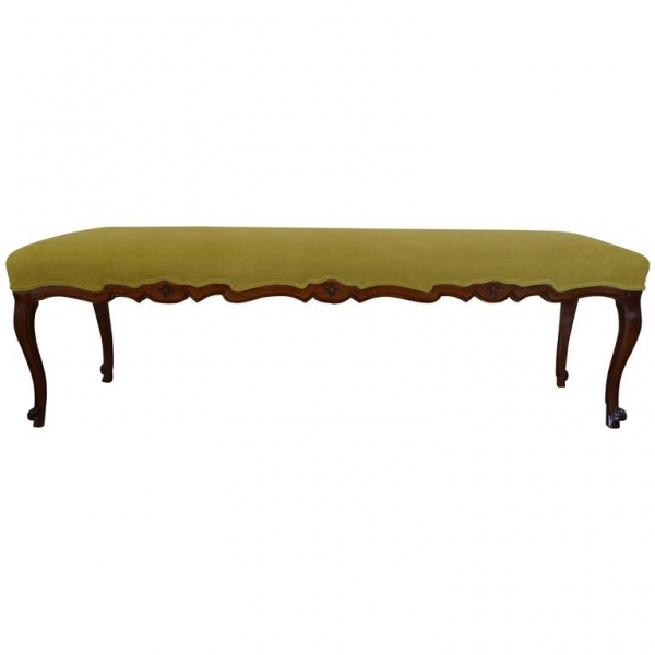Carved Walnut and Upholstered Bench