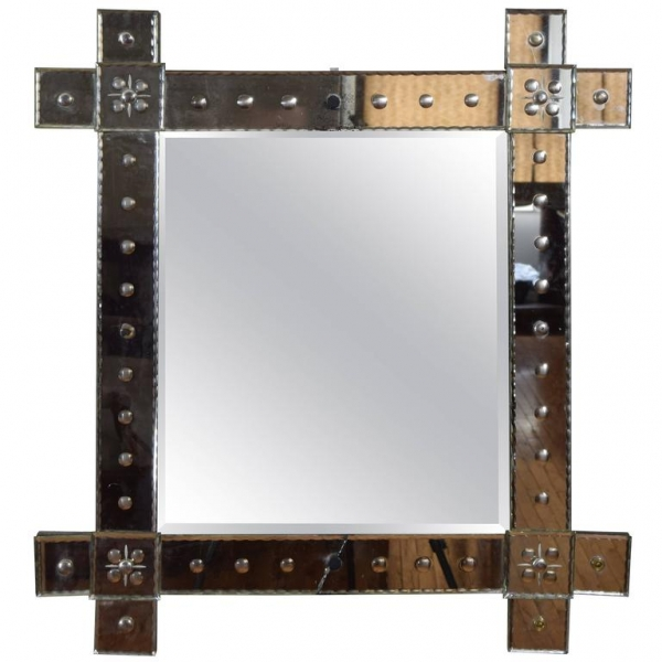 Etched Glass Wall Mirror