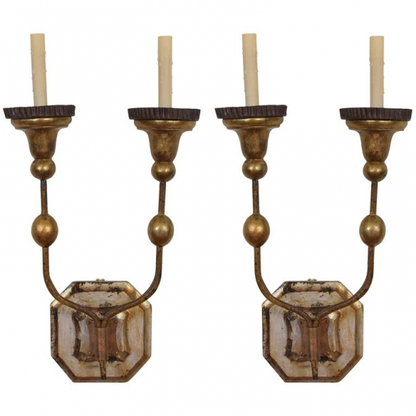 Pair of Gilt Iron and Giltwood Wall Sconces