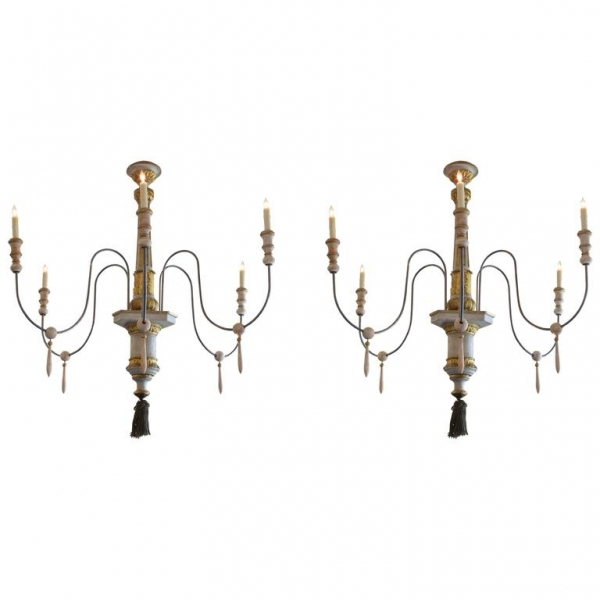 Pair of Large Painted and Giltwood Chandeliers