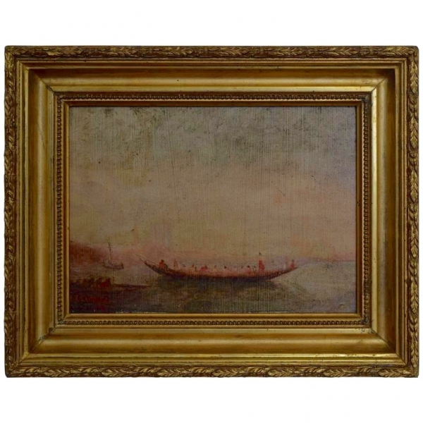 Oil on Board in a Period Giltwood Frame Depicting a Rowing Ship, Signed
