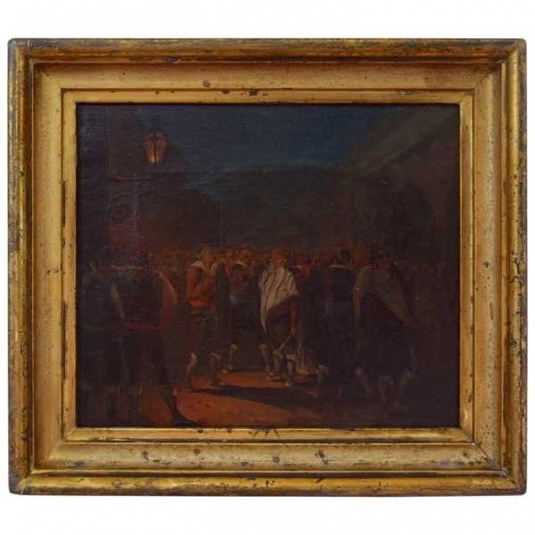 Oil on Canvas Depicting a Nocturnal Gathering Under a Lantern