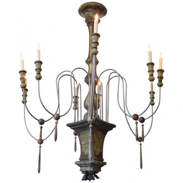 Large Faux Marble Painted 9-Light Chandelier, UL Wired