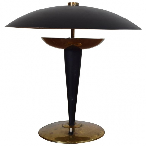 Brass and Painted Metal Table Lamp