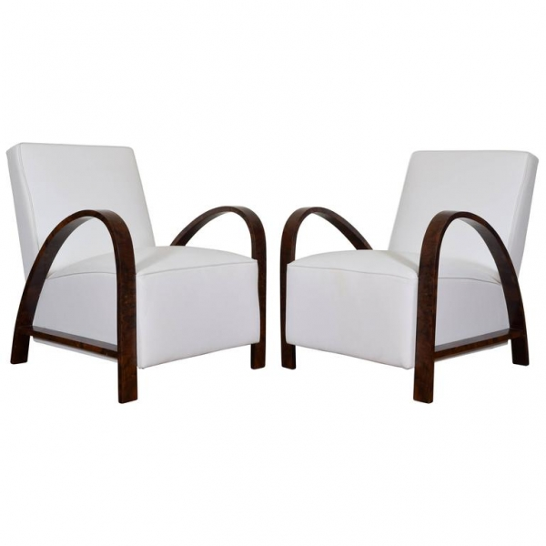Pair of Bentwood Lounge Chairs Upholstered in White Leather